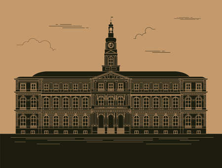 fort: City buildings graphic template. Town hall. Rigas dome. Vector illustration