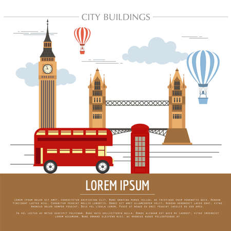 City buildings graphic template. UK. London. Vector illustration Vettoriali