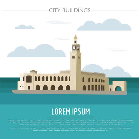 都市の建物グラフィック テンプレート。クウェート。ベクトル図