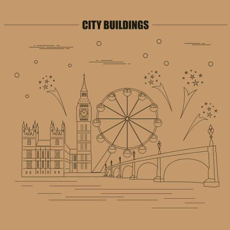 westminster abbey: City buildings graphic template. UK. London. Vector illustration Illustration