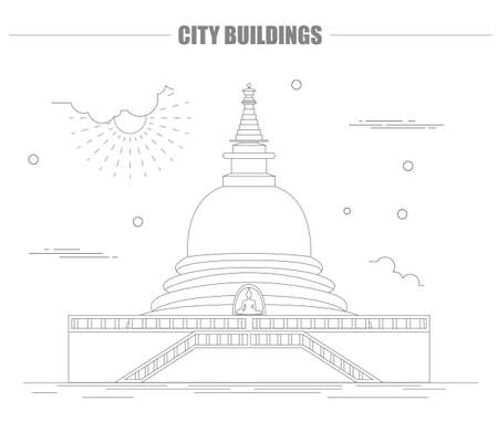 stupa: City buildings graphic template. Sri Lanka. Buddha`s temple. Vector illustration