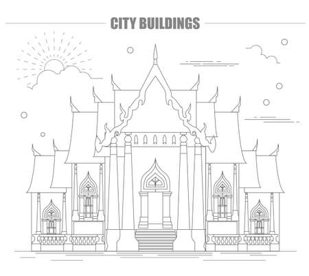 stupa: City buildings graphic template. Thailand. Marble Temple. Vector illustration