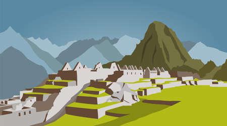 peru: City buildings graphic template. Peru. Machu Picchu. Vector illustration