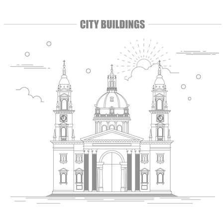 City buildings graphic template. St. Istvan cathedral. Vector illustration