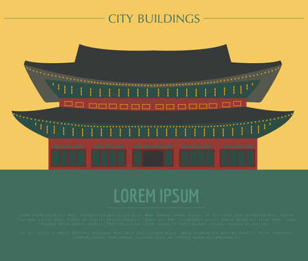 stupa: City buildings graphic template. South Korea. Shining Happiness Palace. Vector illustration Illustration