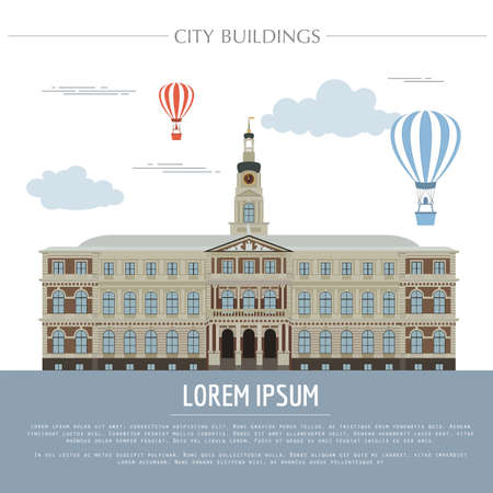 town hall: City buildings graphic template. Town hall. Rigas dome. Vector illustration