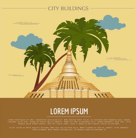stupa: City buildings graphic template. Naypyidaw. Burma. Vector illustration
