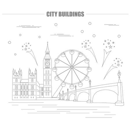 antique booth: City buildings graphic template. UK. London. Vector illustration Illustration