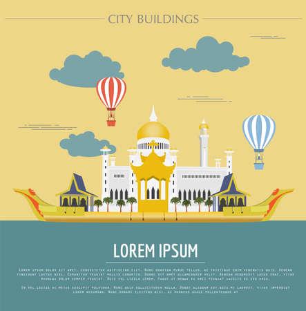 omar: City buildings graphic template. Sultan Omar mosque. Brunei. Vector illustration