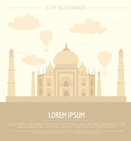 india city: City buildings graphic template. Taj Mahal. India. Vector illustration Illustration