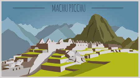 mayas: City buildings graphic template. Peru. Machu Picchu. Vector illustration