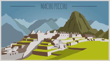 Edificios de la ciudad plantilla gráfica. Perú. Machu Picchu. ilustración vectorial