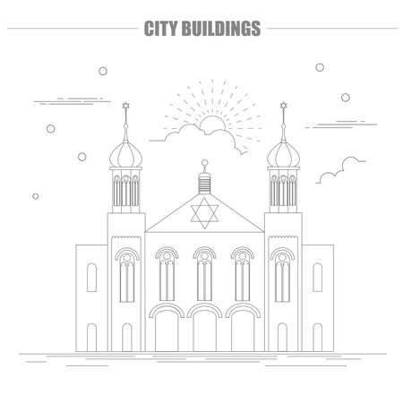 jewish home: City buildings graphic template. Israel. Sinagogue. Vector illustration Illustration