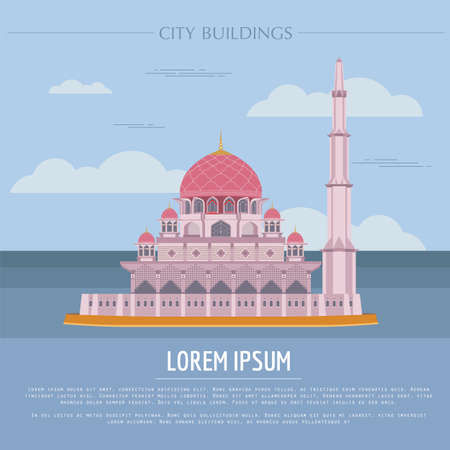 City buildings graphic template. Malaysia, Sultan Putra mosque. Vector illustration Illustration