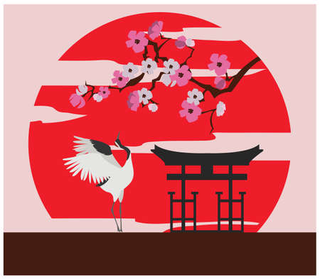 temple tank: City buildings graphic template. Japanese garden. Vector illustration