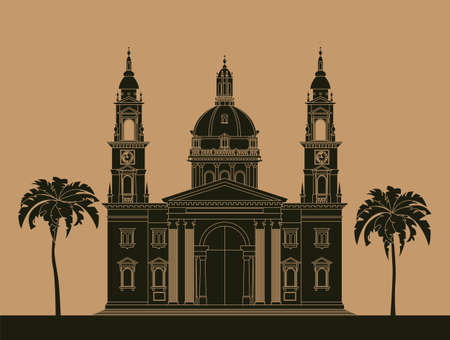 basilica: City buildings graphic template. St. Istvan cathedral. Vector illustration