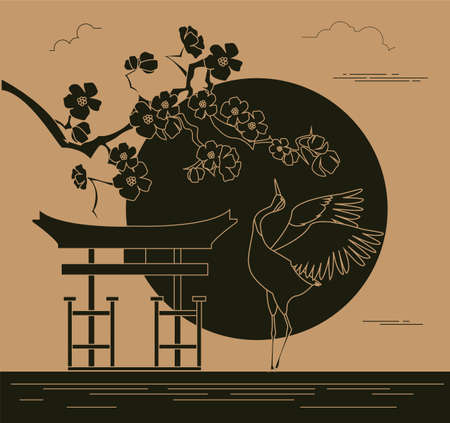 japanese garden: City buildings graphic template. Japanese garden. Vector illustration