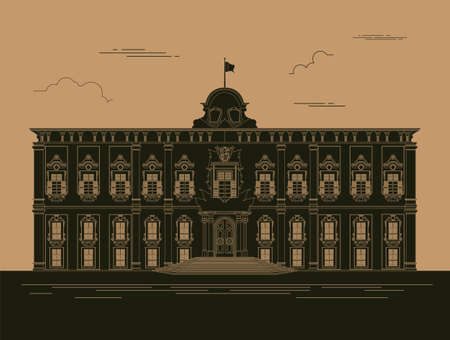 fort: City buildings graphic template. Grand Master Palace. Vector illustration Illustration