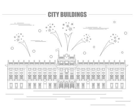 Royal Palace: City buildings graphic template. Royal Palace Madrid. Vector illustration