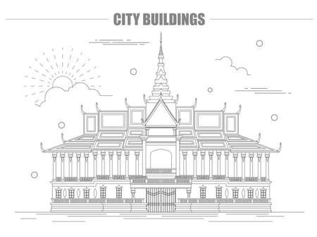 the citadel: City buildings graphic template. Royal Palace. Cambodia. Vector illustration