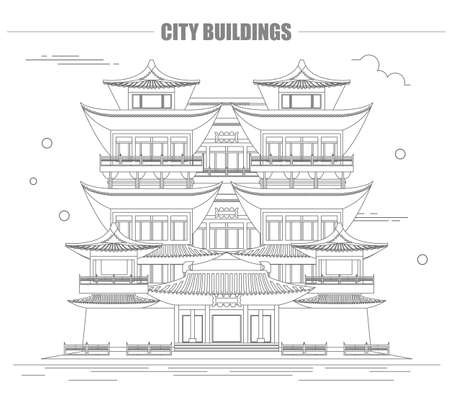 stupa: City buildings graphic template. Singapore. Buddha`s tooth Temple. Vector illustration