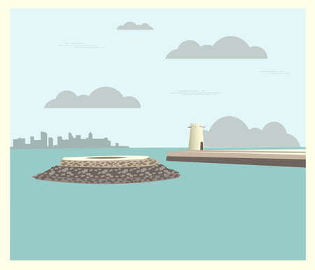 umm: City buildings graphic template. Qatar. Fort Umm Salal Mohammed. Vector illustration