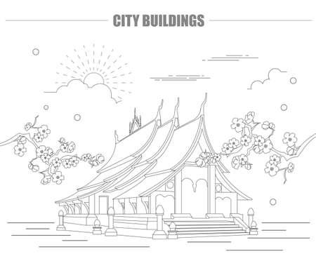 stupa: City buildings graphic template. Laos. Luang Prabang. Vector illustration