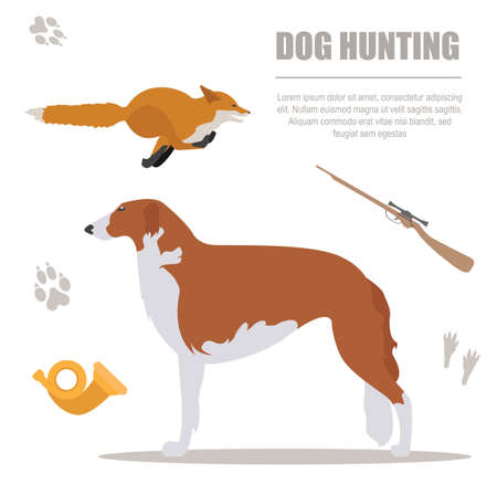 kerry blue terrier: Dog hunting. Flat style. Vector illustration Illustration