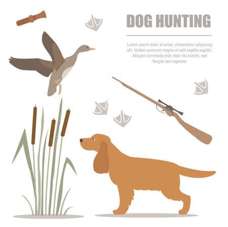 Dog hunting. Flat style. Vector illustration Illustration