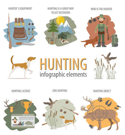 fox terrier: Hunting infographic template. Dog hunting, equipment, statistical data. Flat style