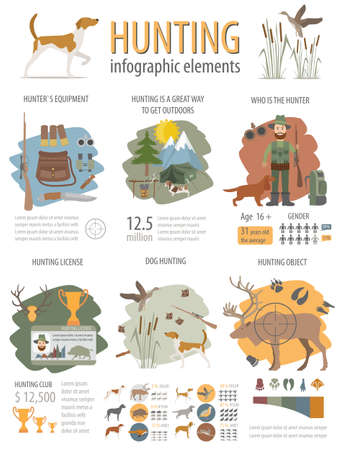 wildlife shooting: Hunting infographic template. Dog hunting, equipment, statistical data. Flat style
