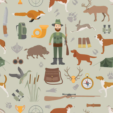 wildlife shooting: Hunting seamless pattern. Dog hunting, equipment. Flat style. Vector illustration Illustration