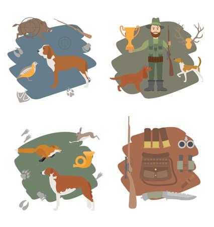wildlife shooting: Hunting icon set. Dog hunting, equipment. Flat style. Vector illustration