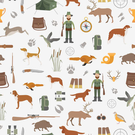 setter: Hunting seamless pattern. Dog hunting, equipment. Flat style. Vector illustration Illustration