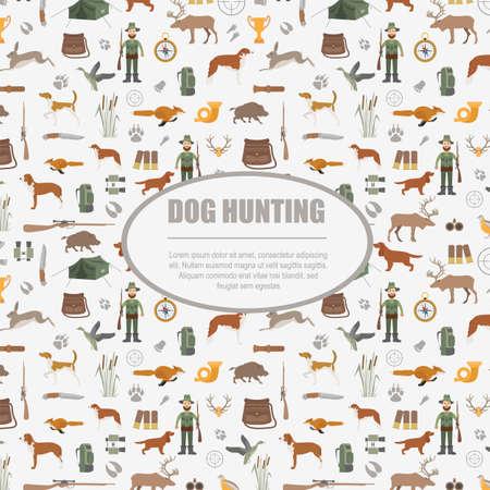 wildlife shooting: Hunting pattern. Dog hunting, equipment. Flat style. Vector illustration