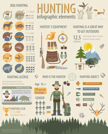 Jagen infographic template. Hond jacht, uitrusting, statistische gegevens. vlakke stijl Vector Illustratie
