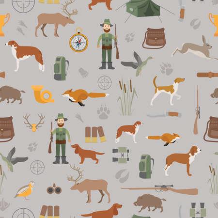wildlife shooting: Hunting seamless pattern. Dog hunting, equipment. Flat style. Vector illustration Illustration