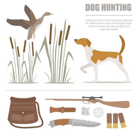 fox terrier: Hunting icon set. Dog hunting, equipment. Flat style. Vector illustration