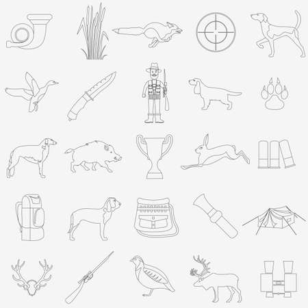 setter: Hunting icon set. Dog hunting, equipment. Flat style. Vector illustration