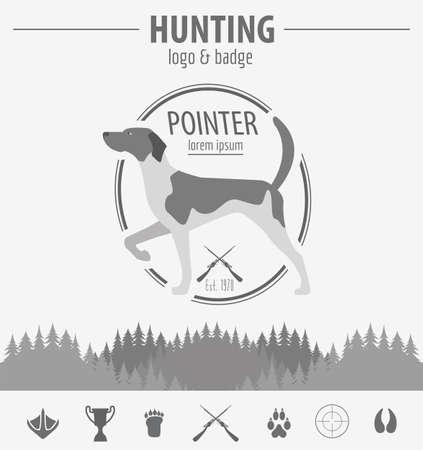 setter: Hunting badge template. Flat design. Illustration