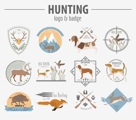 Hunting badge template. Flat design.