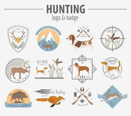 fox terrier: Hunting badge template. Flat design. Illustration