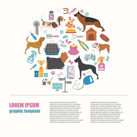 sheepdog: Dog info graphic template. Heatlh care, vet, nutrition, exhibition. Vector illustration