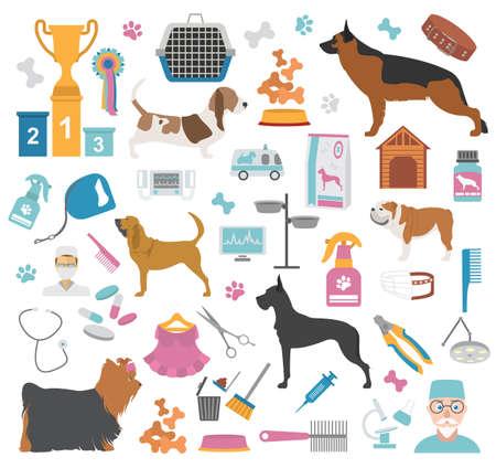 canine: Dog icon set. Heatlh care, vet, nutrition, exhibition. Vector illustration