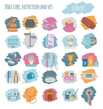 miniature collie: Dog icon set. Heatlh care, vet, nutrition, exhibition. Vector illustration