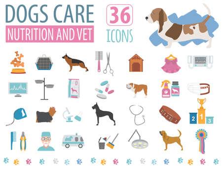 sheepdog: Dog icon set. Heatlh care, vet, nutrition, exhibition. Vector illustration