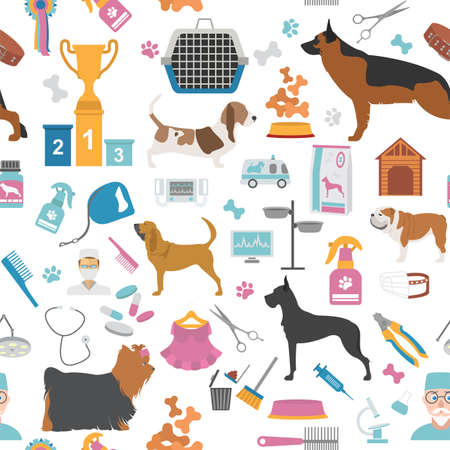 canine: Dog seamless pattern. Heatlh care, vet, nutrition, exhibition. Vector illustration
