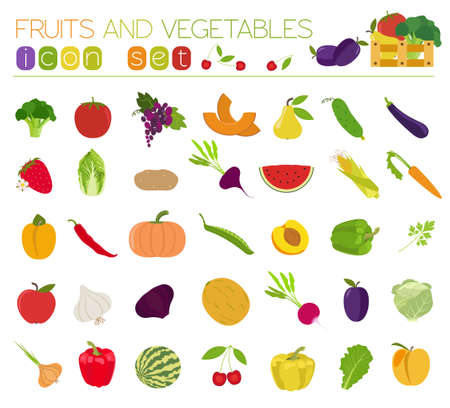 leaf lettuce: Fruits and vegetables. Nutrition. Icon set. Vector illustration