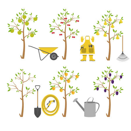 Fruitbomen. Tuin. Icon set. vector illustratie