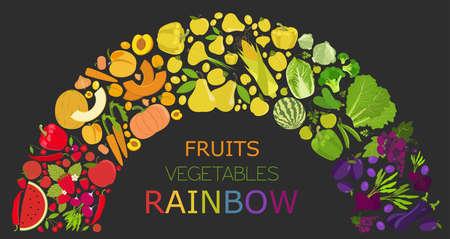 rainbow vector: Fruits and vegetables. Nutrition rainbow. Icon set. Vector illustration